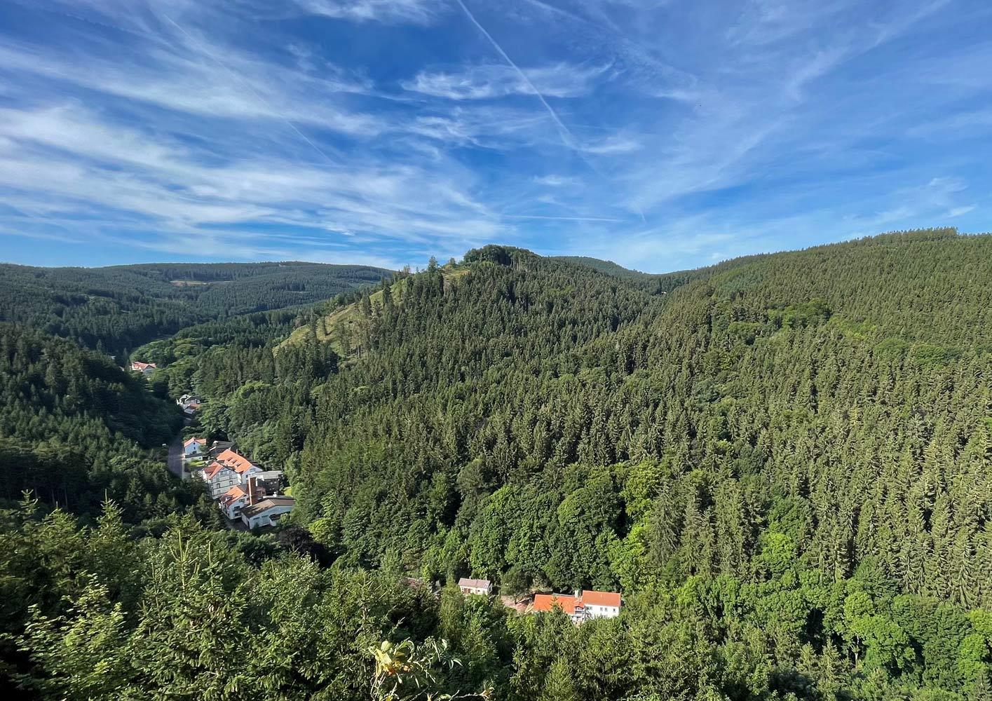 """Blick vom Gottlobstempel in den """"Grund"""". Ganz hinten im Bild ist das """"Waldhotel Friedrichroda"""" zu sehen."""